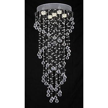 nilight lustre led spirale de gouttes d 39 eau en cristal 150. Black Bedroom Furniture Sets. Home Design Ideas