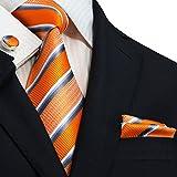 Landisun 14N Orange Bleu Blanc Gris rayé Hommes Soie Cravate Ensemble