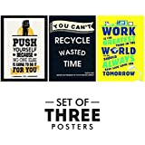 Motivational Posters For Office And Study Room - Set Of 3 Inspirational Wall Quotes | Size 12 X 18 Inch