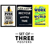 #9: Motivational Posters for Office and Study Room - Set of 3 Inspirational Wall Quotes | Size 12 x 18 Inch