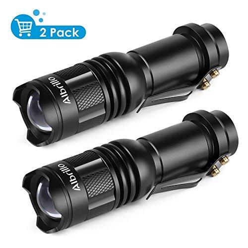 LED Taschenlampe - Albrillo Mini LED Taschenlampe Superheller Fokusierbar AA Batterien und IPX4 Wasserdicht Zertifizier Energie 2x Fokussierbare Taschenlampe mit 3 Modi Weißs - für Draußen und Campen Wandern (2 Stück)
