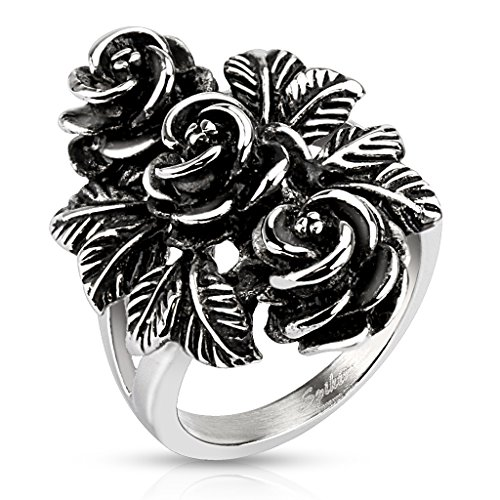 BlackAmazement Edelstahl Ring Vintage Rose Rosen Flower Massiv Gothic Silber Cast Band Damen (60 (19.1)) Adult Strauß