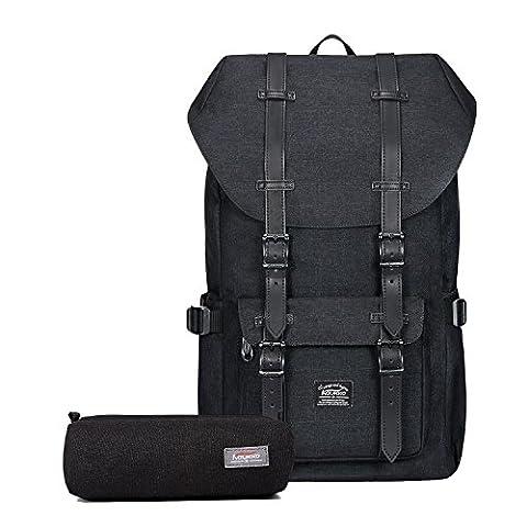 """Rucksack Damen Herren Vintage Reiserucksack KAUKKO 17 Zoll Laptop Rucksack für 15"""" Notebook Lässiger Daypacks Schultaschen of 2 Side Pockets für Wandern Reisen Camping (schwarz(2pcs))"""