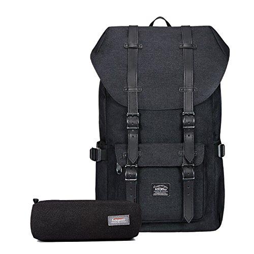Camping-rucksack (Rucksack Damen Herren Vintage Reiserucksack KAUKKO 17 Zoll Laptop Rucksack für 15