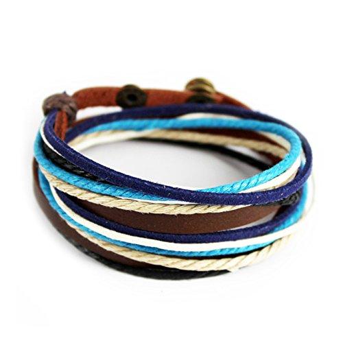 Echtes Leder Unisex Armband Doppe Wlickelarmband Handcraft Armreif mit Baumwolle Seil (Mehrfarbig-2)