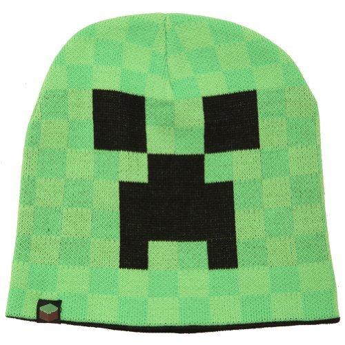 Knallgrün Minecraft Creeper Beanie Mütze hochwertig Farbklecks für jede Jahreszeit doppellagig warm - (Minecraft Mütze Beanie)