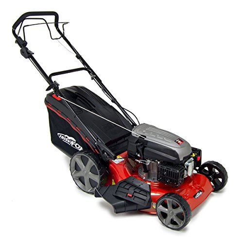 Frisky Fox PLUS 20″ QUAD-CUT Self Propelled Petrol Lawn Mower 4-in-1 Mulching, Cutting, Collecting & Side Discharge Powered By 5.5HP 4-Stoke OHV Engine with Fitted Lawn Striper and 55L Grass Collection Bag