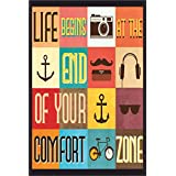 BEST DECOR Life Begins Zone Poster For Room Inspiring Design Collection Quotes And Messages Posters. Posters For Boys And Girls Wall Decals For Home And Office Poster For Study Room Gym Poster Motivational Messages Funny Funky Cool Captions And Sayings On