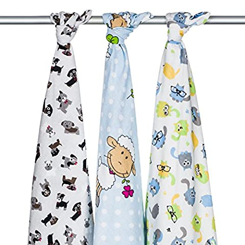 3 x Super Soft High Quality Baby Flannel Muslin Squares, Large 80x70, 100% Organic Brushed Cotton – Boo Boo set. Multiply use: Blanket, Wrap, Face Cloth, Towel, Nappy, Cover, Changing Mat,