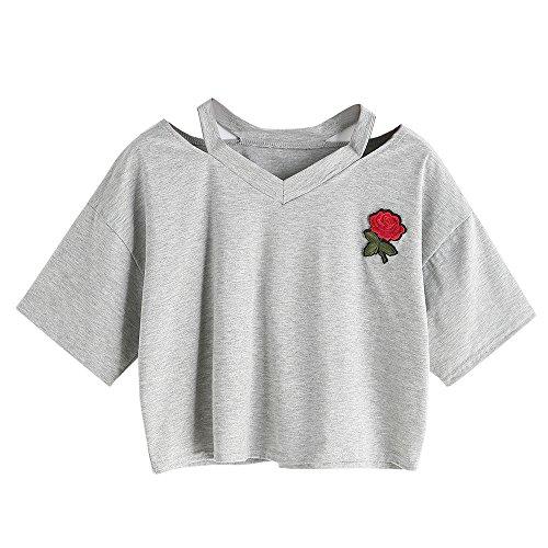 Loveso Sommer Tee Damen T-shirts Druck Loch Rundhals Kurzarm Bauchfrei Sommer Basic Risse Crop Top Oberteil Tops ((Größe):34 (S), Grau)