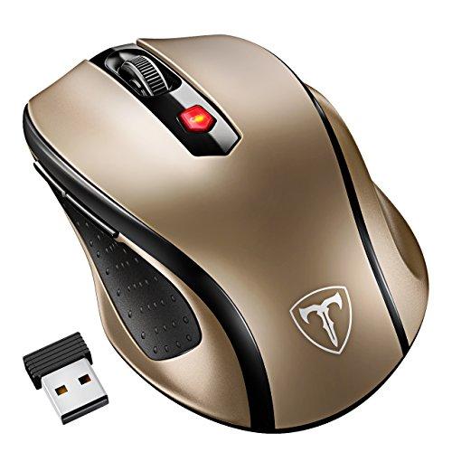VicTsing Mini Schnurlos Maus Wireless Mouse 2.4G 2400 DPI 6 Tasten Optische Mäuse mit USB Nano Empfänger Für PC Laptop iMac Macbook Microsoft Pro, Office Home- Golden