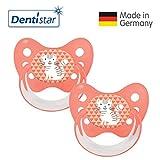 Dentistar® Silikon Schnuller 2er Set inkl. 2 Schutzkappen - Nuckel Größe 2, 6-14 Monate, zahnfreundlich und kiefergerecht | Katze