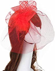 Yogogo Voile Fascinateur Mariage Faux plume Hard Band bande bandeau chapeaux Accessoire cheveux nuptiale