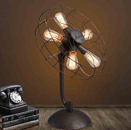 Économie d'énergie Protection des yeux - rétro étude de la lampe de ventilateur personnalité d'ingénierie de style industriel lampe de table décorative - (Ne pas inclure la source lumineuse)