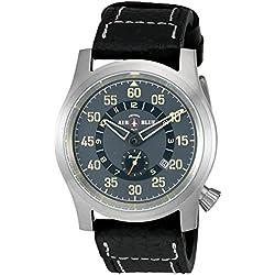 Deep Blue 'Papa Praesto' Automatic Stainless Steel and Black Leather Aviator Watch (Model: ABPPSSBLACK)