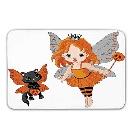 Halloween rutschfeste Gummi Eingang Teppich, Halloween Baby Fairy und ihre Katze in Kostümen Schmetterlinge Mädchen Kinderzimmer Dekor dekorative Fußmatte für die Haustür (Den Kostümen Die In Halloween-katze,)
