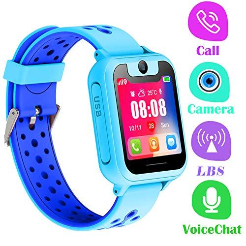 Telefono Reloj Inteligente LBS Niños - Smartwatch con Localizador LBS Juegos Despertador Camara Linterna per Niño y Niña de 3-12 Años (LBS, Azul)