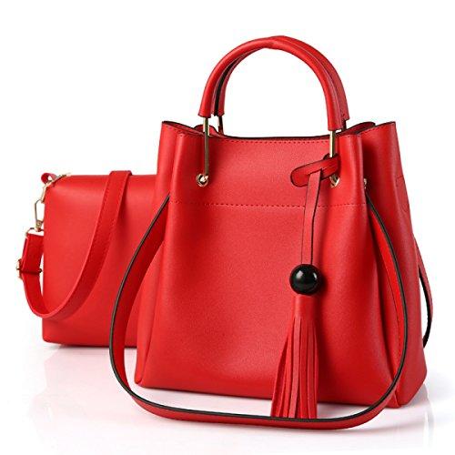 Qpalzm Womens Pu Top Handbag Tube Satchel Style Nappa Chiusura Con Cerniera 2 Confezioni A5
