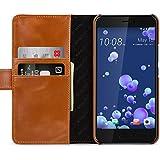 StilGut Talis Schutz-Hülle für HTC U11 mit Kreditkarten-Fächern aus echtem Leder. Seitlich aufklappbares Flip Case in Handarbeit gefertigt für das Original HTC U11, Cognac