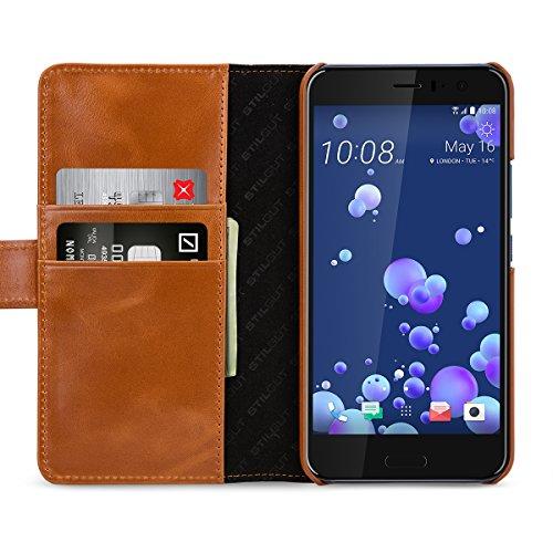 StilGut Talis Case con tasca per carte , custodia in pelle cover per HTC U 11. Chiusura a libro Flip-Case in vera pelle fatta a mano, Cognac