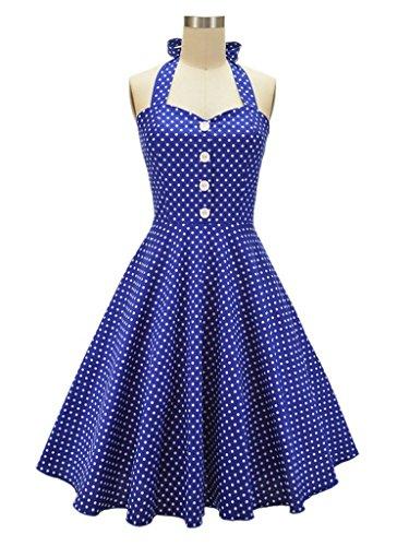 Eyekepper Robes courte de femmes 50 annee Vintage motif petit point Bleu