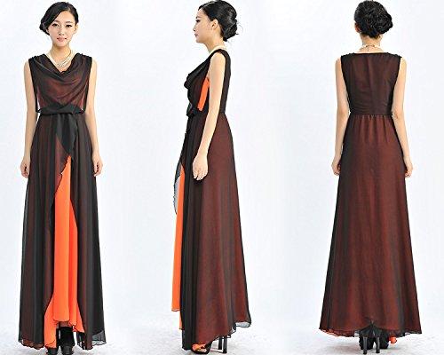 Nouveau Robe en mousseline pour femme Ourlet grand swing JUPE AILE Orange - Orange