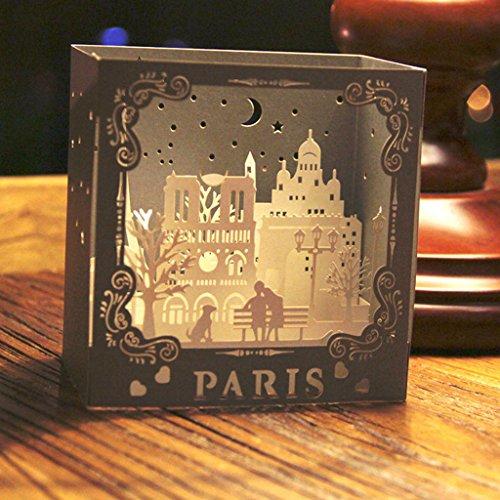 Dabixx Grußkarten Weihnachten Geburtstag Valentinstag Einladung 3D Pop Up Skulptur Paris Skulptur 10.5x10.5x7 cm