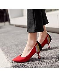 Xue Qiqi Tacones de satén con una punta fina, con zapatos de mujer y trabajo profesional versátil hechizo bajo...