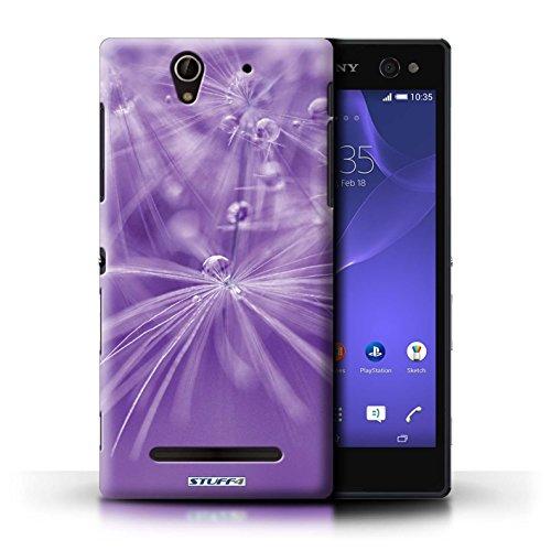 Kobalt® Imprimé Etui / Coque pour Sony Xperia C3 / Fleur Violet conception / Série Gouttes de Fées Fleur Violet