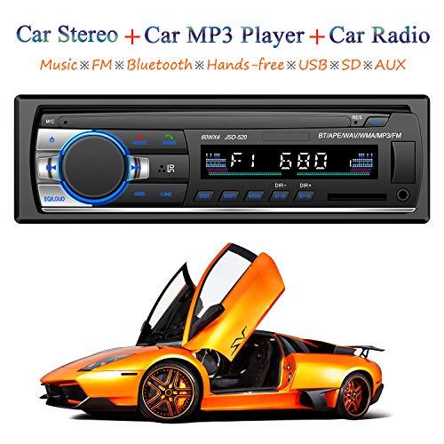 Honboom Autoradio Bluetooth, 4x60W FM Radio Voiture 1 Din, Récepteur Bluetooth Mains Libres Voiture Lecteur mp3 avec Intégré EQ, Soutient FM/MP3/WMA/USB/TF/AUX/ISO Télécommande et Commande au...