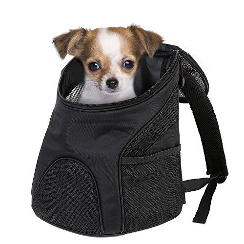 Femor Pet Rücksack atmungsaktive Outdoor-Reise Schultertasche Tragetasche für Hunde, Katzen bis 3kg, Wandern und Shoppen gehen Schwarz