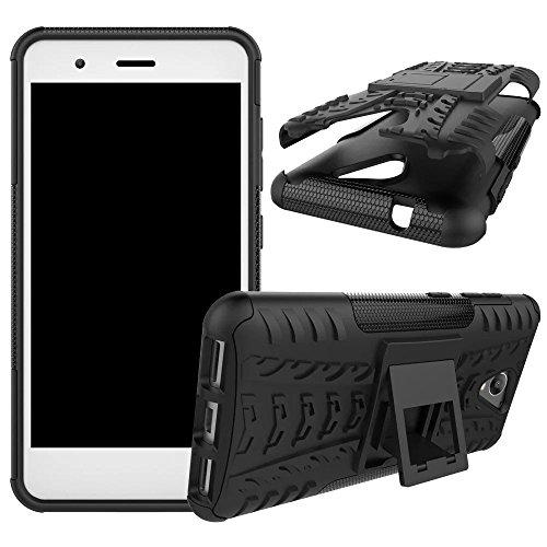 YHUISEN ZTE Blade A510 Case, Hyun Pattern Dual Layer Hybrid Armor Kickstand 2 In 1 Shockproof Case Cover für ZTE Blade A510 5.0 Zoll ( Color : Black ) Black