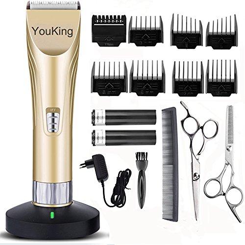 YouKing Hair Clippers, Low Noise Cordless Kinder Grooming Clippers und Haarschneider für Männer und Baby, 2 wiederaufladbare Batterien, 8 Kämme (Gold)