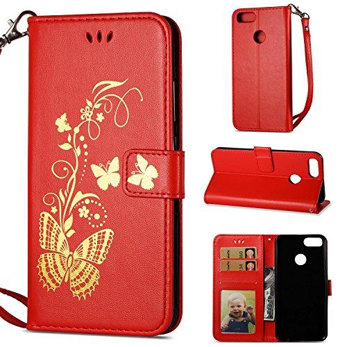Linvei Bronzing Schmetterling Blume Flip Ledertasche Handyhülle Brieftasche Hülle Schutzhülle für Xiaomi Mi A1 / Mi 5X (5,5 Zoll) - Rot