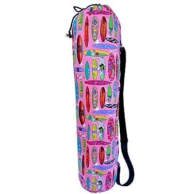 """Yogatasche - Yogamatten Tasche - für Yoga / Pilates / Fitness-Studio """"SURF"""" – 73cm hoch x 17cm Durchmesser. Für Standard-Matten und große - Mit Innenfutter für zusätzlichen Schutz - Handmade"""