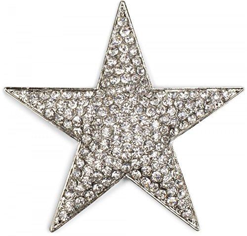 styleBREAKER Magnet Schmuck Anhänger Strass besetzt im Stern Design für Schals, Tücher oder Ponchos, Brosche, Damen 05050034, Farbe:Silber