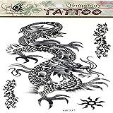 ljmljm 3 Piezas diseños Tatuaje Impermeable Pegatina Tigre dragón halcón Serpiente para Hombres Tatuaje Pegatinas Tatuaje Tatuajes Cuerpo Arte Rosa 20x10 cm