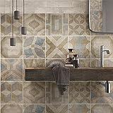 wall art (Confezione 24 Pezzi) Adesivi per Piastrelle Formato 20x20 cm - Made in Italy - PS00172 Adesivi in PVC per Piastrelle per Bagno e Cucina Stickers Design - Tulum