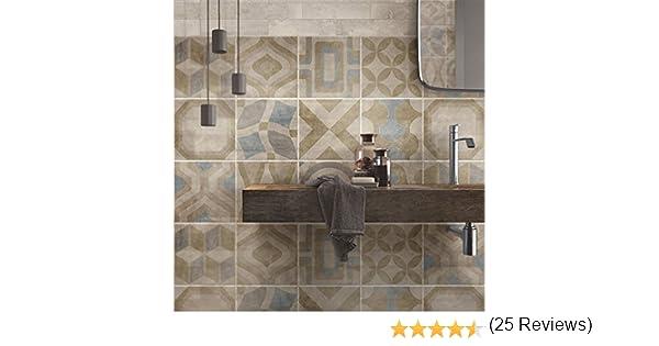 Tulum Made in Italy Confezione 24 Pezzi PS00172 Adesivi in PVC per Piastrelle per Bagno e Cucina Stickers Design wall art Adesivi per Piastrelle Formato 20x20 cm