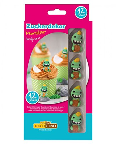 Horror-Shop 12 Essbare Zucker-Monster als Dekoration für Muffins & Torten