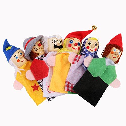NUOLUX 6pcs Finger Puppets Soft Velvet Dolls Props Juguetes (Rol profesional)