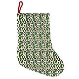 ABAKUHAUS Kastanie Hängende Nikolausstiefel Weihnachtssocken, Natur Weihnachtsthema, Weihnachtsstrumpf zum Aufhängen, 35x50cm, Apfelgrün und Braun
