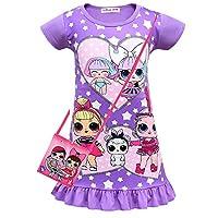 ALAMing LOL Surprise Girls Nightdress Nightie Red Pink Purple Color 3-8Years (Purple, 6-7Years)