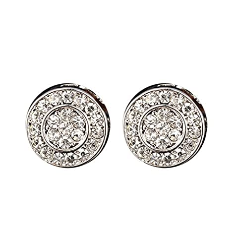 YOUBETTER Fashion Elegant Gold Silver Circle Disk Crystal Stud Charm Earrings Jewelry (Silver)