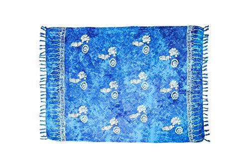 MANUMAR Damen Pareo blickdicht, Sarong Strandtuch in türkis-blau mit Muschel Motiv, XL Größe 175x115cm, Handtuch Sommer Kleid im Hippie Look, für Sauna Hamam Lunghi Bikini