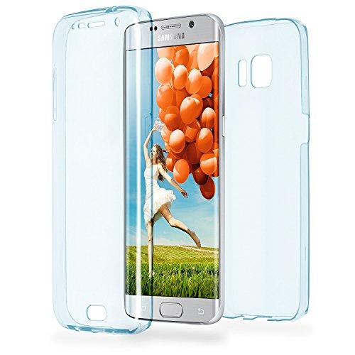Double Case für Samsung Galaxy S6 Edge   Silikon Hülle Transparent Beidseitiger Schutz   Dünne 360° Full Handy Tasche von OneFlow   Back Cover in Blau
