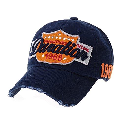 Navy Vintage Cap (WITHMOONS Baseballmütze Mützen Caps Vintage Baseball Cap Distressed Emboridery Trucker Hat KR1737 (Navy))