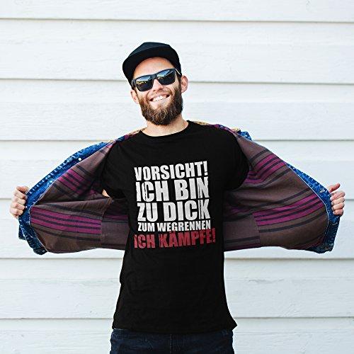 vanVerden Unisex T-Shirt XS-5XL Vorsicht! Ich bin zu dick. Ich kämpfe. Schwarz