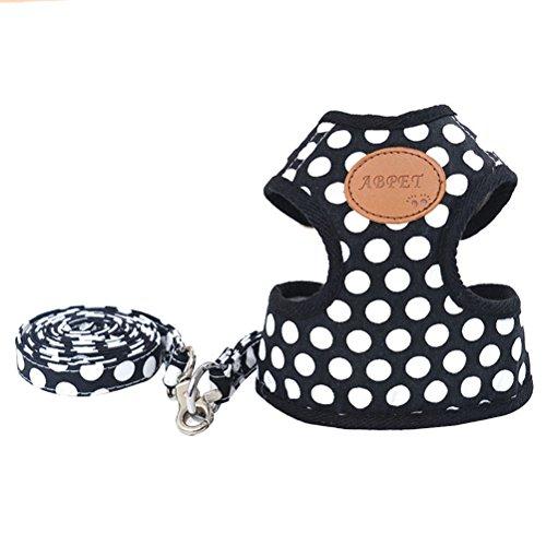 Artikelbild: UEETEK Klein Hundegeschirr Set/ verstellbares Brustgeschirr mit Leine für Haustier Größe M (Schwarz) (Schwarz M)