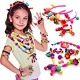 ICW Cordless Bead Kit - Pop Beads Snap-Together Fashion Kit Fun For Kid Necklace And Bracelet Craft 128 Pieces/Set Jewellery Making Kit Beads Art - Toy Gifts,